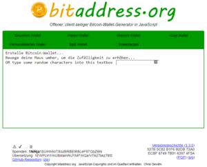 Bitaddress Webseite