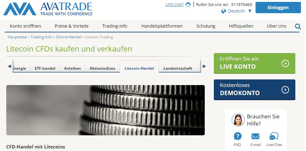 Bei AvaTrade gibt es CFDs auf 5 Kryptowährungen, unter anderem auch Litecoin.