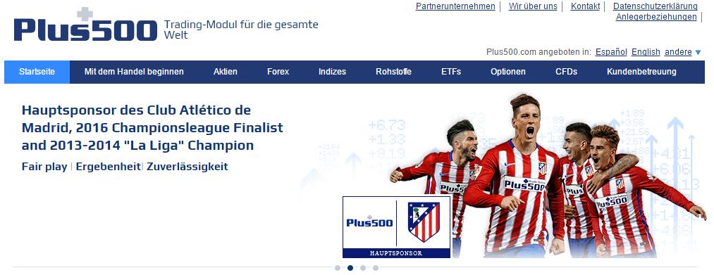 Plus500 ist Sponsor der Fußballmannschaft Atletico Madrid.