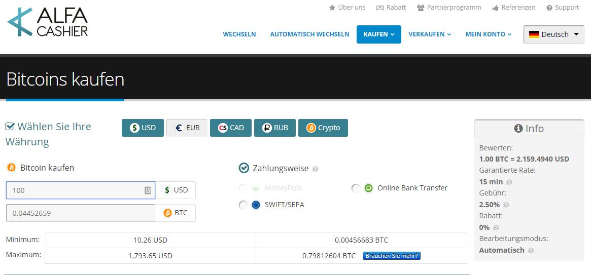 ALFAcashier Bitcoins kaufen