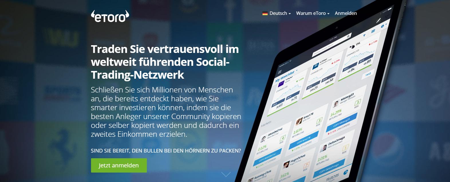 Die Social-Trading-Plattform eToro gibt Tradern die Möglichkeit, sich andauernd austauschen zu können
