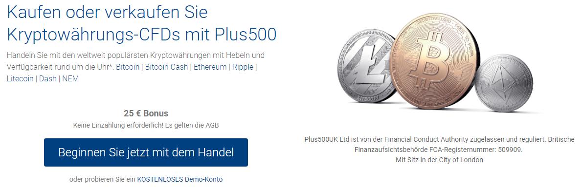 Neben Bitcoin gibt es bei Plus500 viele weitere Kryptowährungen im CFD Handel.