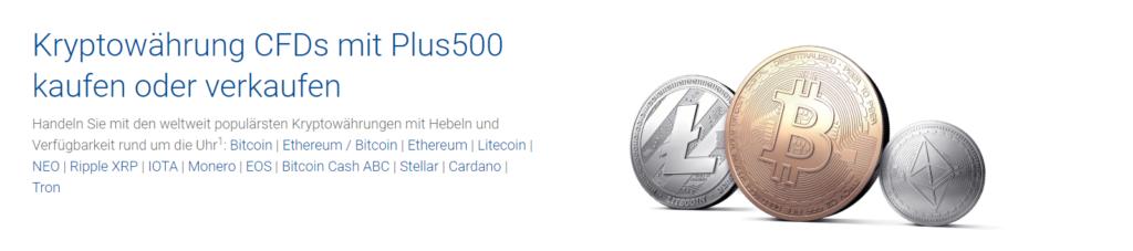 Bei Plus500 können Anleger nicht nur Bitcoin handeln sondern auch viele weitere Kryptowährungen.