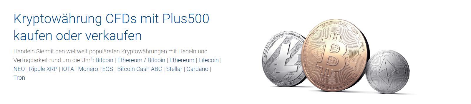 Bei Plus500 können eine Reihe von Kryptowährungen gehandelt werden.