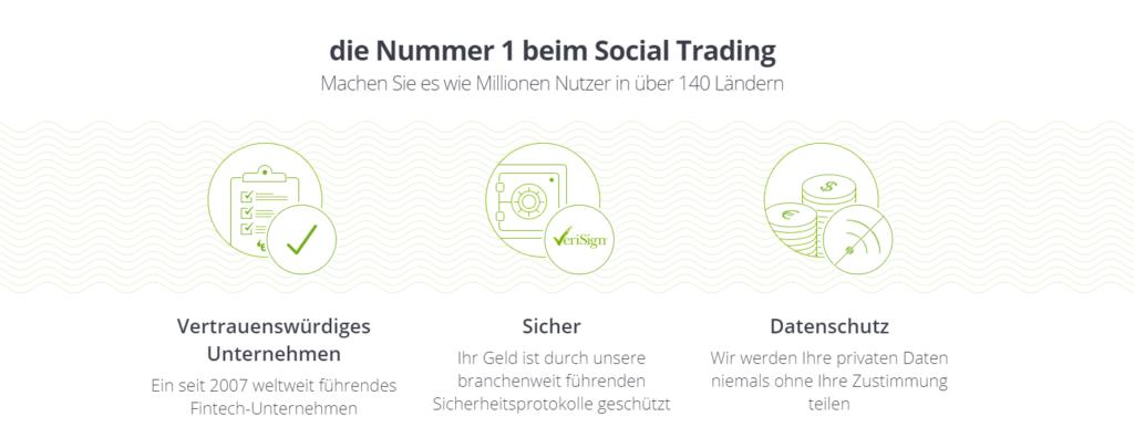 Die Social-Trading Plattform eToro bringt viele Vorteile mit sich und bietet seinen Tradern größte Sicherheiten