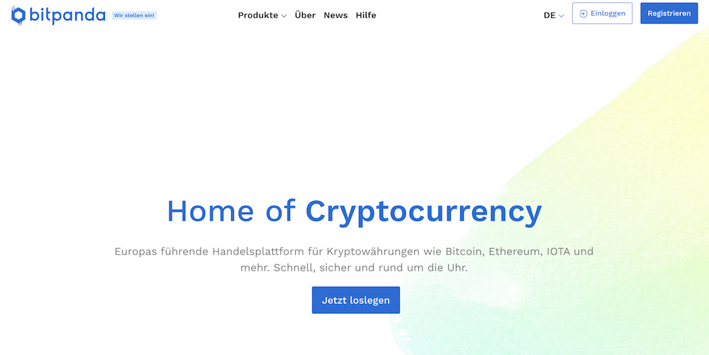 Bitpanda Webseite