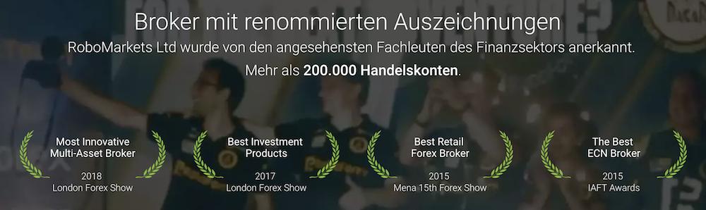 RoboMarkets Auszeichnungen